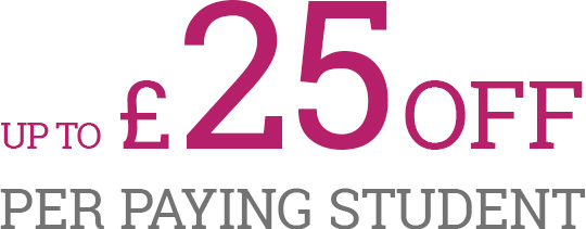 up to £25 off per paying student