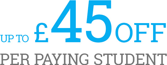 up to £45 off per paying student