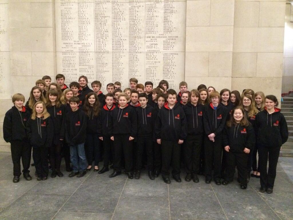 School music tour sing at the Menin Gate